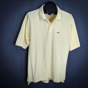 Nike Golf Mens Polo Shirt Medium Yellow Textured